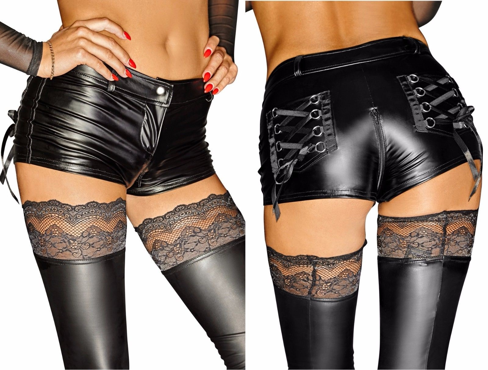 Schwarze Shorts F138 von Noir Handmade Diva Collection